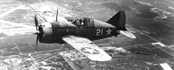 Brewster F2A-3 fighter in flight 1942